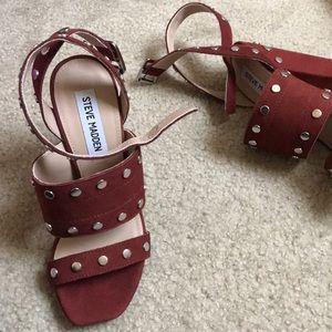 b316003bb2b8 Steve Madden Shoes - Steve Madden Rust silver studded heeled sandals